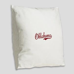 Oklahoma Script Font Garnet Burlap Throw Pillow