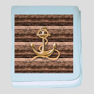 shabby chic vintage anchor baby blanket