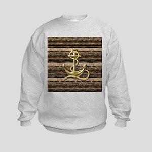 shabby chic vintage anchor Kids Sweatshirt