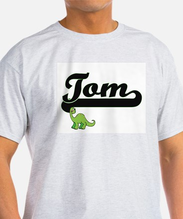 Tom Classic Name Design with Dinosaur T-Shirt