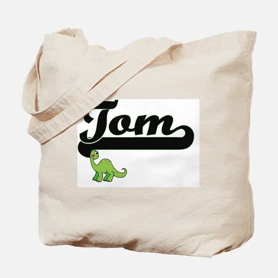 Tom Classic Name Design with Dinosaur Tote Bag