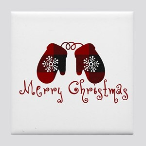 Plaid Mittens Merry Christmas Tile Coaster