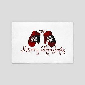 Plaid Mittens Merry Christmas 4' x 6' Rug