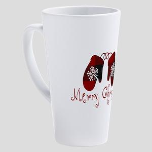 Plaid Mittens Merry Christmas 17 oz Latte Mug
