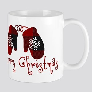 Plaid Mittens Merry Christmas Mugs