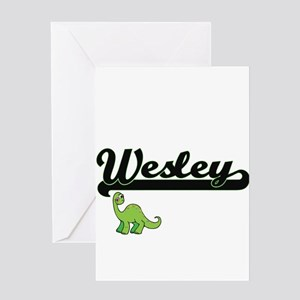 Wesley Classic Name Design with Din Greeting Cards