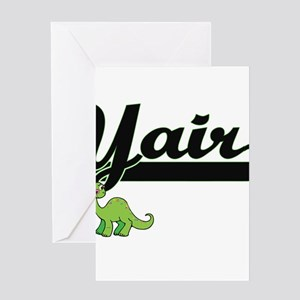 Yair Classic Name Design with Dinos Greeting Cards