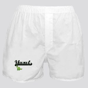 Yusuf Classic Name Design with Dinosa Boxer Shorts