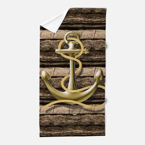 shabby chic vintage anchor Beach Towel