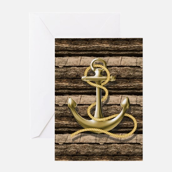 shabby chic vintage anchor Greeting Cards