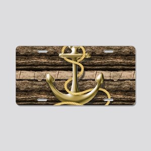 shabby chic vintage anchor Aluminum License Plate