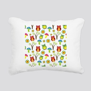 Cute Owl Floral Pattern Rectangular Canvas Pillow