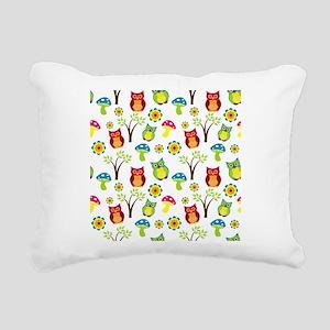 Cute Owl Floral Pattern Rectangular Canvas Pillow
