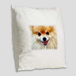 Pomeranian Smile Burlap Throw Pillow