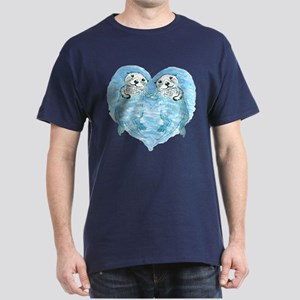 sea otters holding hands Dark T-Shirt