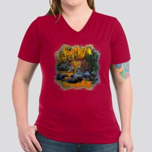 Autumn Cougar Women's V-Neck Dark T-Shirt