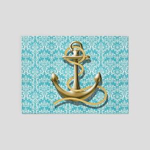 teal blue damask anchor 5'x7'Area Rug