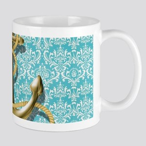 teal blue damask anchor Mugs