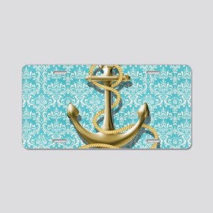 teal blue damask anchor Aluminum License Plate