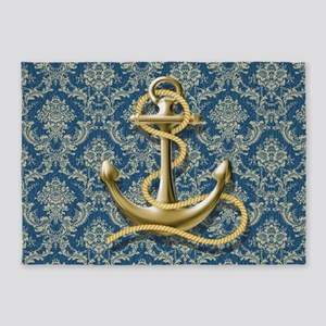 nautical navy blue damask anchor 5'x7'Area Rug