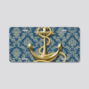 nautical navy blue damask a Aluminum License Plate