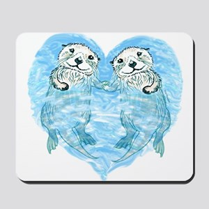 sea otters holding hands Mousepad