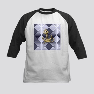 gold anchor blue geometric pattern Baseball Jersey