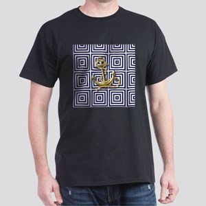 gold anchor blue geometric pattern T-Shirt