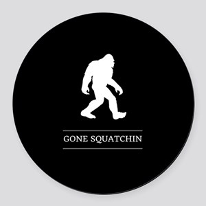 Gone Squatchin Round Car Magnet