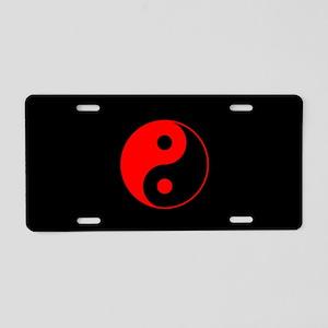 Red Yin Yang Symbol Aluminum License Plate