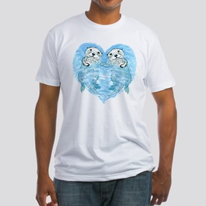 sea otters holding hands Fitted T-Shirt