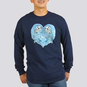 sea otters holding hands Long Sleeve Dark T-Shirt