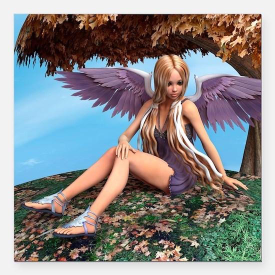 "Autumn Angel Square Car Magnet 3"" x 3"""