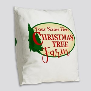 Christmas Tree Farm Burlap Throw Pillow