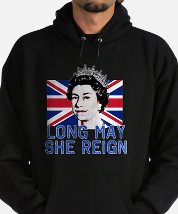 Queen Elizabeth II:  Long May She Re Hoodie (dark)