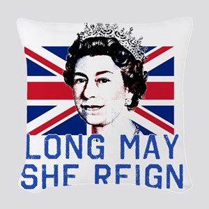 Queen Elizabeth II:  Long May  Woven Throw Pillow