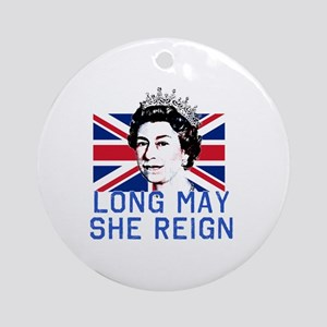 Queen Elizabeth II:  Long May She R Round Ornament