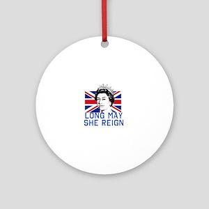 Queen Elizabeth II:  Long May She R Round Ornament