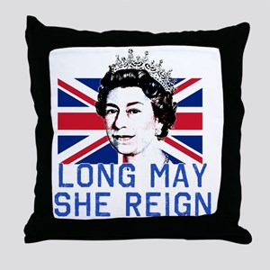 Queen Elizabeth II:  Long May She Rei Throw Pillow