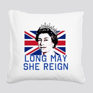 Queen Elizabeth II:  Long May Square Canvas Pillow