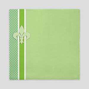 Green Fleur-de-lis Striped Pattern Queen Duvet