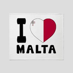 I Love Malta Throw Blanket