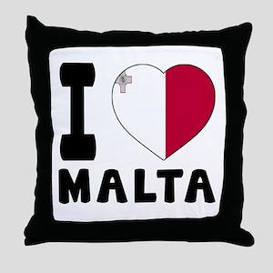 I Love Malta Throw Pillow