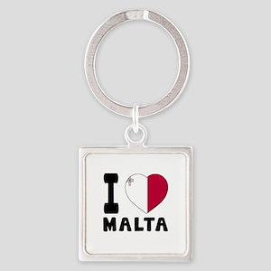 I Love Malta Square Keychain