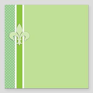 "Green Fleur-de-lis Strip Square Car Magnet 3"" x 3"""