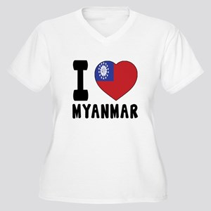 I Love MYANMAR Women's Plus Size V-Neck T-Shirt