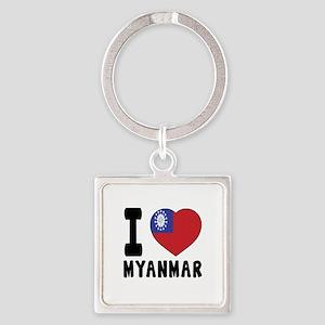 I Love MYANMAR Square Keychain