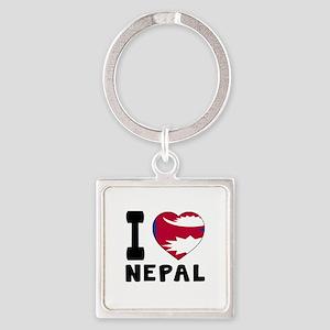 I Love Nepal Square Keychain