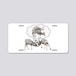 Rutting mule deer dream Aluminum License Plate