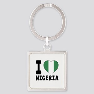 I Love Nigeria Square Keychain